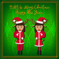 Merry Christmas Raindeer Santa Green Background Royalty Free Stock Photo
