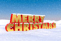 Merry christmas red and gold greetings in the snow Royalty Free Stock Photo
