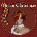 Merry Christmas Red Haired Elf Background Stock Photo