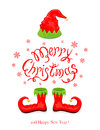 Merry Christmas with red hat and shoes elf Royalty Free Stock Photo