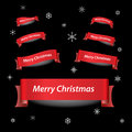 Merry christmas red ribbon banners