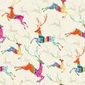 Merry Christmas reindeer seamless pattern vector file.