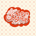 Merry christmas retro design with tree Royalty Free Stock Image