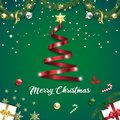 Merry christmas ribbon tree on green background banner