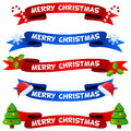 Merry Christmas Ribbons or Banners Set Royalty Free Stock Photo