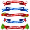 Merry Christmas Ribbons Or Ban...