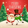 Merry Christmas! Santa Claus and Cheerful Snowman arm over shoulder Royalty Free Stock Photo