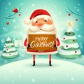 Merry Christmas! Santa Claus holds wooden board sign in Christmas snow scene winter landscape