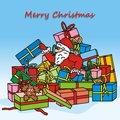 Merry christmas santa claus is looking for gifts humorous illustration Royalty Free Stock Photography