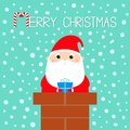 Merry Christmas. Santa Claus on the roof chimney. Red hat, beard, costume, belt buckle, bag, gift box. Happy New Year. Cute Royalty Free Stock Photo