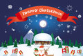 Merry Christmas Santa Clause Reindeer Elf Character Over Winter Snow House Village Poster Greeting Card Royalty Free Stock Photo