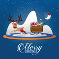 Merry Christmas scene with reindeer pulling Santa Clauss sleigh. Cartoon character. Vector.
