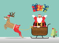 Merry Christmas scene with reindeer, sleigh and Santa clause sprinkle the gift.