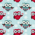 Merry Christmas! Seamless pattern with owls. Vector background.