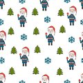 Merry Christmas seamless pattern with Santa Claus with Christmas tree and snowflakes on white background. Doodle style