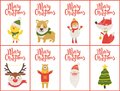 Merry Christmas Set of Banners Vector Illustration