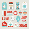Merry christmas set scrapbook diy printable tags of signs and banners for holiday gifts or xmas decoration eps vector Royalty Free Stock Photos
