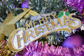 Merry Christmas Sign with Decorations Stock Photo