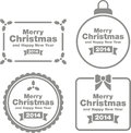 Merry christmas signs set of different isolated on white background Royalty Free Stock Photo
