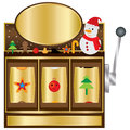 Merry christmas slot cute illustration design game white color background template golden brown color backdrop Stock Image