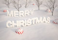 Merry christmas from snow d render Royalty Free Stock Images
