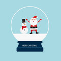 Merry christmas snow globe with santa claus and snowman. Royalty Free Stock Photo