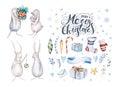 Merry christmas snowflakes and rabbits. Hand drawn bunny illustr
