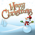 Merry christmas snowman illustration of a cheerful and custom designed lettering Royalty Free Stock Images