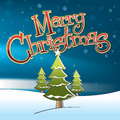 Merry christmas snowman illustration of a tree on a winter night and custom designed lettering Royalty Free Stock Photo