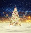 Merry christmas, snowy xmas tree with decoration Royalty Free Stock Photo