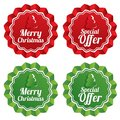Merry christmas special offer price tags set vector sale round star stickers realistic icons for shopping isolated eps Stock Photography