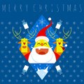 Merry christmas symbol. st claus and deers Royalty Free Stock Photo