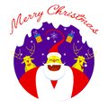Merry christmas symbol. santa claus, gifts and reindeers. Royalty Free Stock Photo