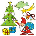 Merry christmas symbols of santa claus tree carp comet gifts and bells Stock Image