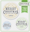 Merry Christmas Tags, Label, Coaster Letterpress Design. Royalty Free Stock Photo