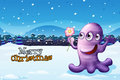 A merry christmas template with a purple monster illustration of Royalty Free Stock Photos