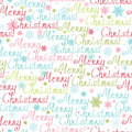 Merry christmas text seamless pattern background vector with hand made chrismas words with drawn snowflakes Royalty Free Stock Photos
