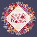 Merry Christmas toys. Greeting card. Christmas and New Year design elements.