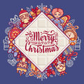 Merry Christmas toys. Greeting card.