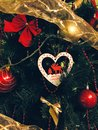 Merry christmas tree with decorations Royalty Free Stock Photography