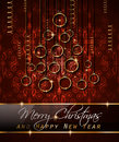 Merry Christmas Tree Flyer with Golden elegant baubles and glowing light stars Royalty Free Stock Photo