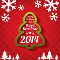 Merry christmas tree greeting card and happy new year lettering applique background vector illustration Stock Photo