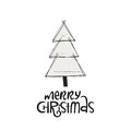 Merry Christmas with Christmas tree. Hand drawn Christmas lettering. Cute New Year phrase. Vector illustration Royalty Free Stock Photo