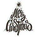Merry Christmas tree handmade lettering