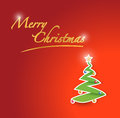 Merry christmas tree red card illustration Stock Images