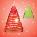 Merry christmas tree from red or green ribbon banners