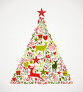 Merry christmas tree shape full of elements compos colorful with reindeers and holiday composition eps vector file organized in Stock Photos