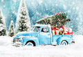 Merry Christmas tree transporter Royalty Free Stock Photo
