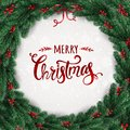 Merry Christmas Typographical on white background with Christmas wreath of tree branches, berries, lights, snowflakes.