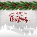 Merry Christmas typographical on white background with garland of Christmas tree branches, winter landscape, snowflakes, light